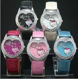 Hot Sale Heart-shaped fashion crystal cat Wrist watch kids gift(China (Mainland))