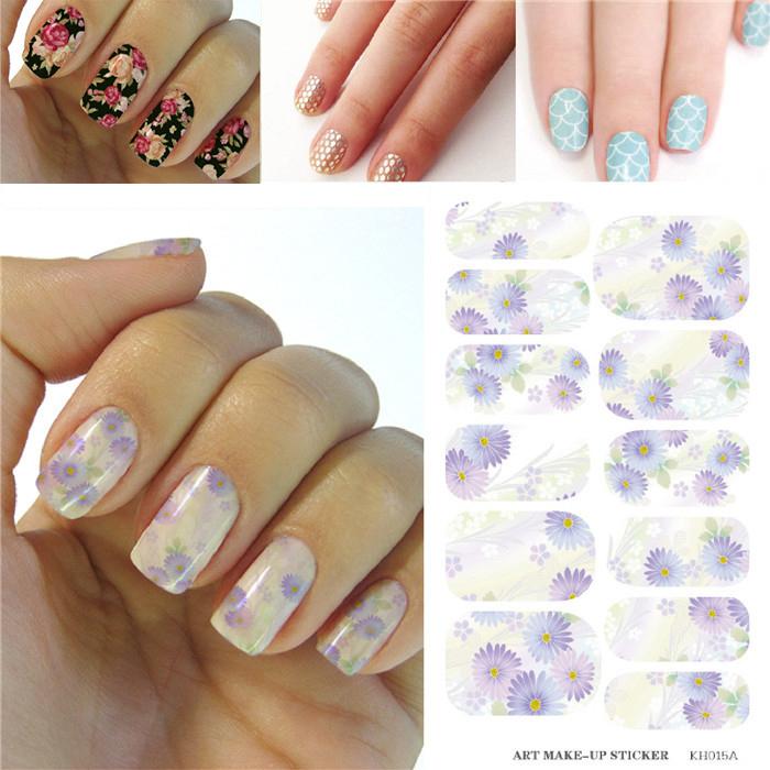 2015 Elegant Chrysanthemum Flower Pattern Designs Nails Art Sticker Fashion Nail Decorations