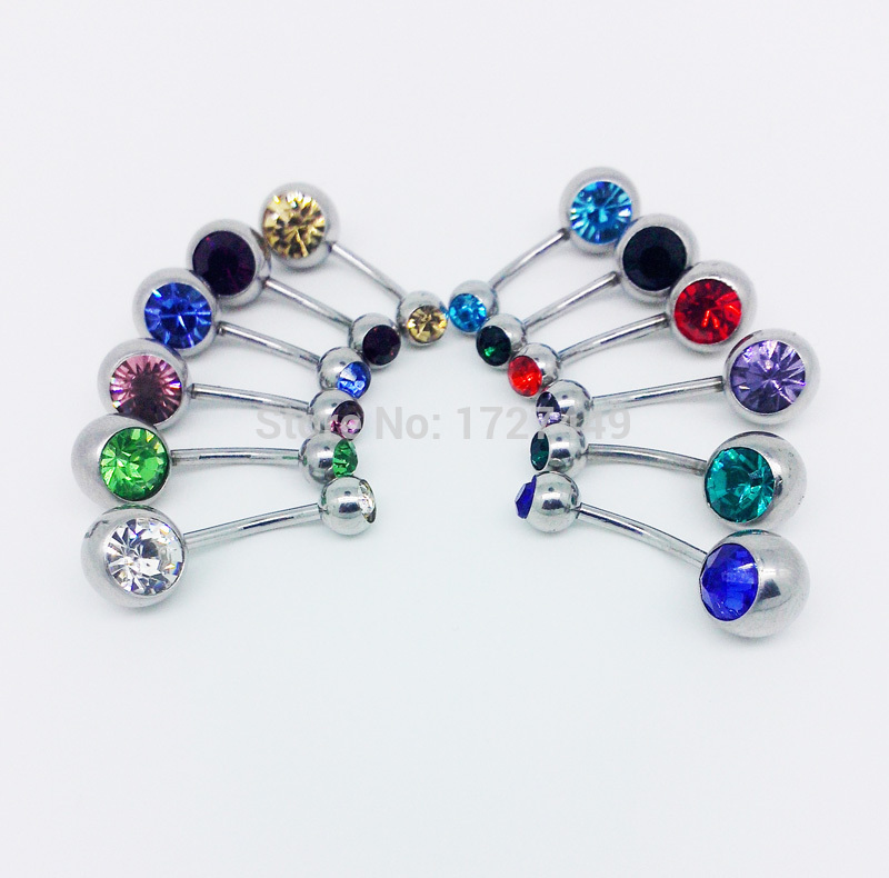 New Hot Luxurious Sexy Medical Steel Two Head Set Auger Piercing Navel Belly Button Ring For