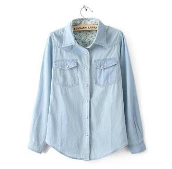Мода марка дамы джинсовой рубашки женщины блузки Большой размер длинным рукавом свободного покроя хлопок джинсы блузка женская одежда 2015 новый