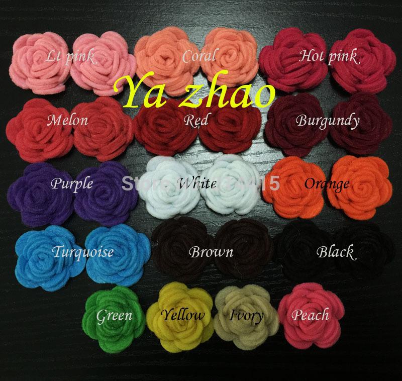 1.5'' Pretty Felt Fabric rolled puff ,Children Headband Felt Flower 100pcs/lot Mix 16 color Free shipping(China (Mainland))