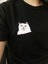 2015 new Hong Kong fashion pocket Harajuku wild cat lovers big yards women wear short sleeved