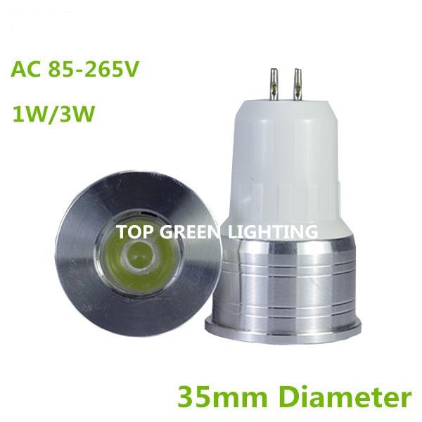 10 x Diameter 35mm LED Spot Light Bulb GU5.3 MR11 Mini Light Bulb 3W 1W AC85-265V Small LED Lamp Bombillas MR11 GU5.3 LED 35mm(China (Mainland))