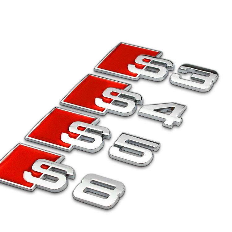 3D Aluminum Alloy S3 S4 S5 S8 S Line Car Tail Sticker Emblem Badge Logo Metal Rear Tail Badge Sticker Logo For Audi Car Emblem(China (Mainland))