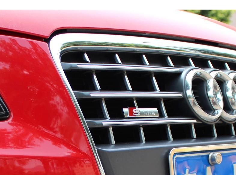 1 pcs S LINE Metal 3D Car Front Hood Grill Badge Grille Emblem Logo Race for