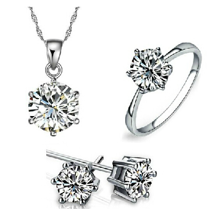 JS S049 AAA Quality Zircon Necklace Earring Ring Set White Gold Plated Jewelry Sets Nickel Free Bridal Wedding Jewelry Sets(China (Mainland))