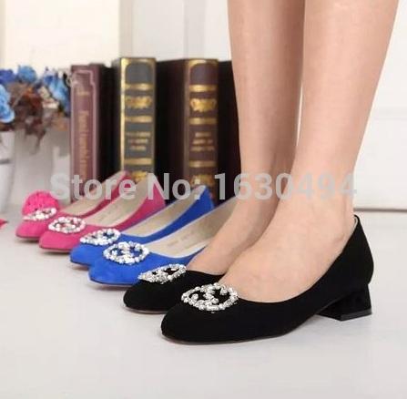 2015 New Fashion Genuine Leather Luxury Brand Designer Bridal Wedding Shoes Rhinestone Women Square Low Heel Leather Shoes(China (Mainland))