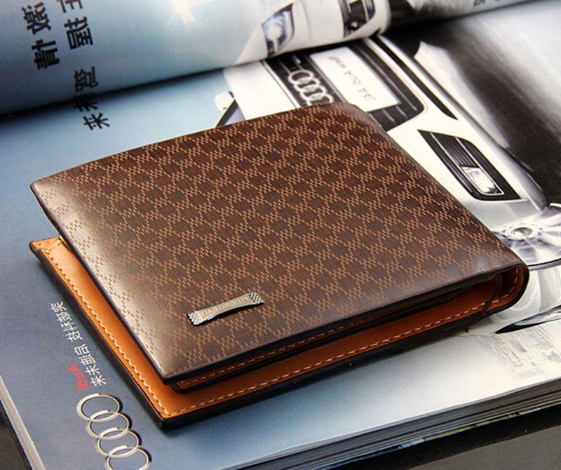 New Fashion Genuine + PU Leather Plaid Wallet Male Bag Brand Men Wallets Handbag Purse(China (Mainland))