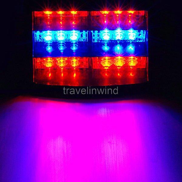 18 LED Flashing Strobe Dash Police Fire Man Emergency Warning Traffic Light Red/Blue/Red(China (Mainland))