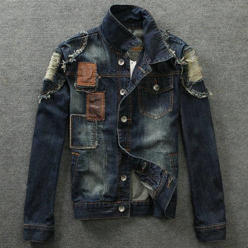 new coor Mens Patch Retro Denim Jean moto hole Beggar Trendy Jacket Coat outwear(China (Mainland))