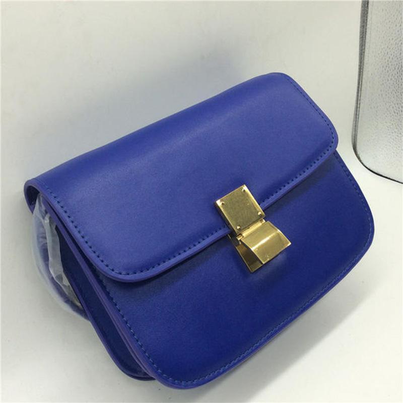 Vintage Women classic box handbag genuine leather cowhide bag one shoulder cross-body designer bag(China (Mainland))