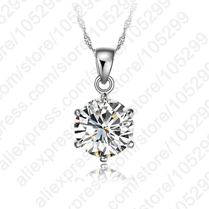 Гаджет  Cheapeat!!!925 Sterling Silver Necklace Women 2014 Holiday Gift Wedding Jewelry 6 Claw Cubic Zircon Gemstone Pendant Engagement None Ювелирные изделия и часы