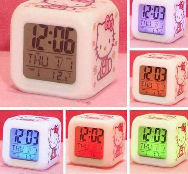 2015 Upgrade Glowing LED Night Light alarm clock hello kitty Color Changing Digital Alarm Clock despertador retail(China (Mainland))