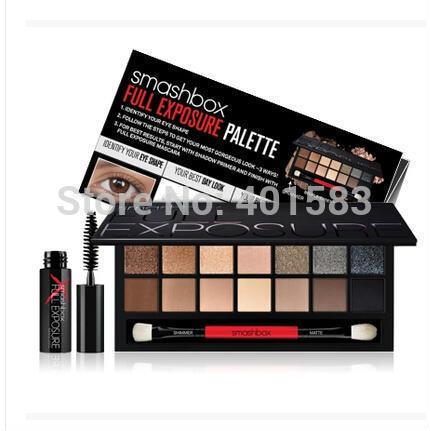 100% Brand New 14 Color Smash Box Full/Double Exposure Eyeshadow Palette+Bonus Mascara,Original Eye Makeup Palette,Free Shipping(China (Mainland))