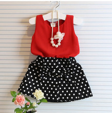 2015 Baby Girls Clothing Sets Summer Red Chiffon Vest+bow polka dot Skirt Outfit Children Clothing Kids Clothes Suit(China (Mainland))