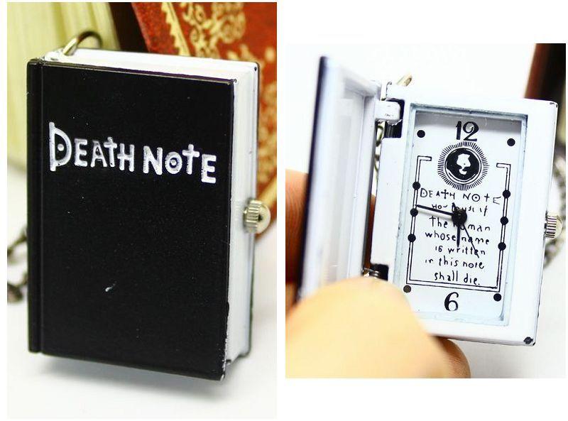 Free shipping wholesale hot sale Quartz Analog Nacklace Black Death Notebook pocket watch cartoon(China (Mainland))