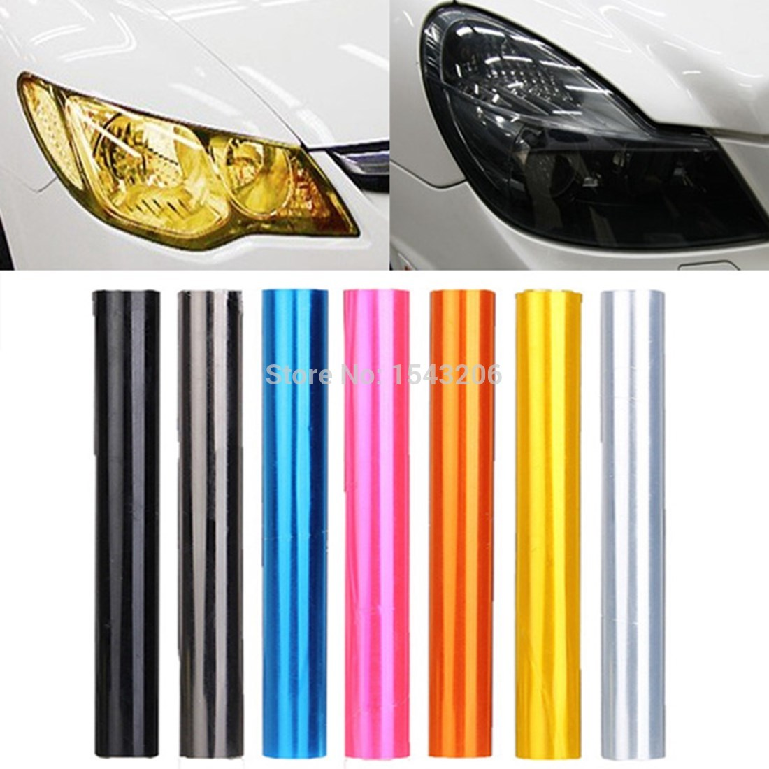 30cm x 120cm 7-Color Auto Car Tint Headlight Taillight Fog Light Vinyl Smoke Film Sheet Sticker Cover 12inch x 48inch