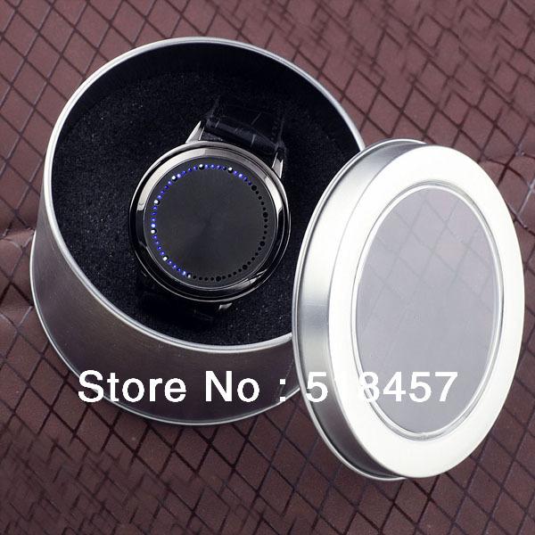 Cool Fashion Black Band LED Light Men Boys Luxury Hours Minutes Dispaly Wrist Watch+ Nice Iron Box Free Shipping(China (Mainland))