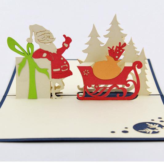 Qubiclife 3d stick! Santa stereoscopic 3d Christmas greeting card ideas handmade cards(China (Mainland))