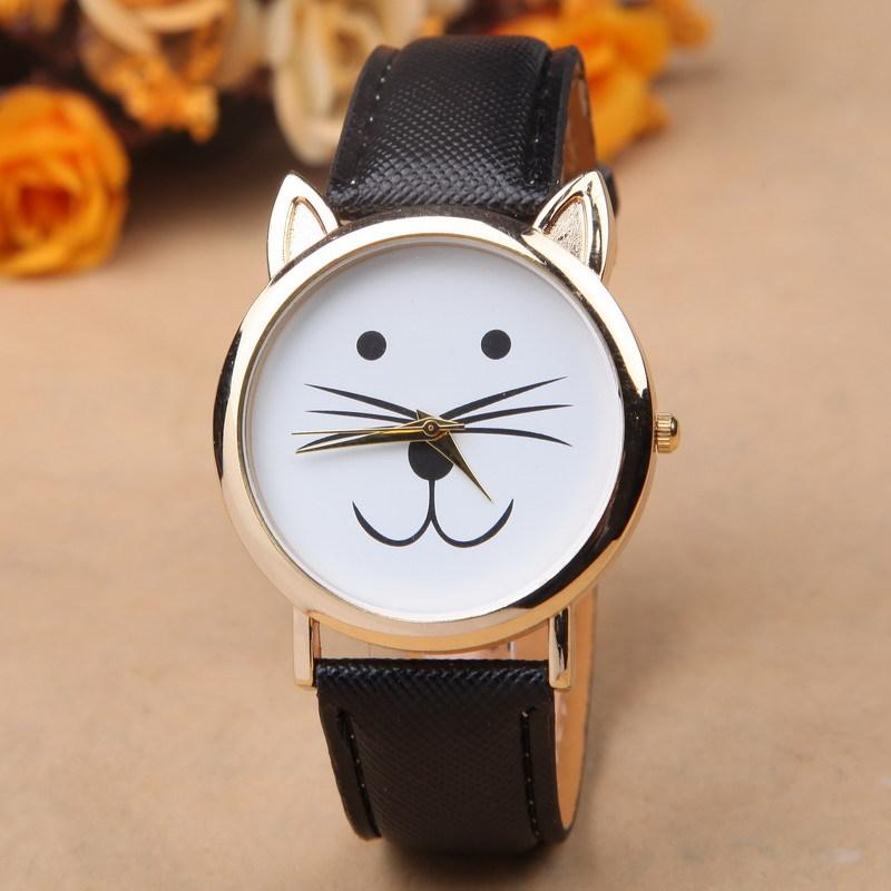 6 colors Popular women dress watches fashion ladies watch leather wrist band watch Geneva Novelty Cat Catroon quartz watch(China (Mainland))
