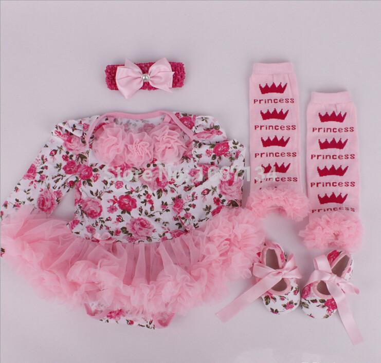 Newborn Baby Dress+Headband+shoes+leggings 4pcs/set,Flower Girl princess baby clothing sets vestido infantil(China (Mainland))
