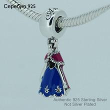Fits Pandora Charms Bracelet 925 Sterling Silver Bead Princess Dress Charm With Blue&Pink Enamel European Women DIY Jewelry