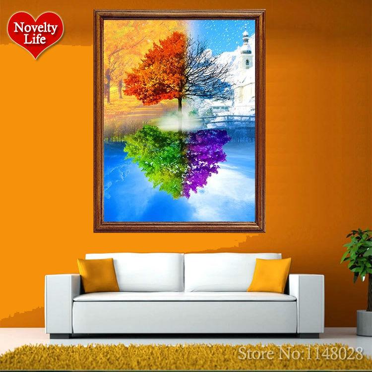 New Sales Home Decoration 3D DIY Diamond Painting Four Seasons Tree Square Full Resin Diamond Embroidery Tree Seasons 25*35cm(China (Mainland))