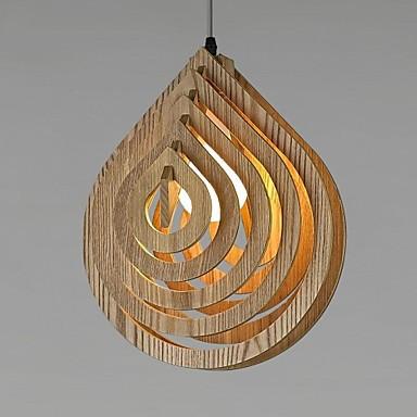 Nordic Creative Wooden LED Chandelier Modern Heart-shaped Loft Vintage Wood Water droplets Hanging Lamp Ikea Lighting 1 Light(China (Mainland))