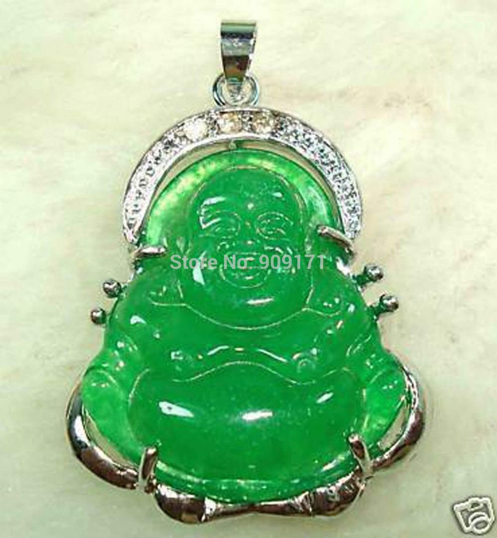 Free Shipping>>CHINESE GREEN JADE BUDDHA PENDANT NECKLACE(China (Mainland))