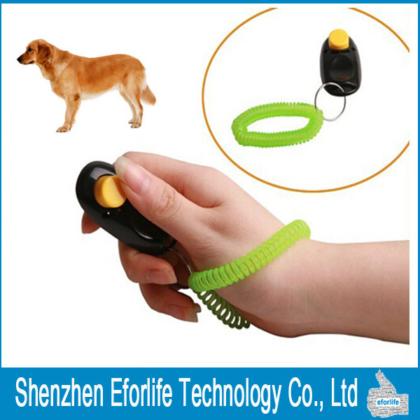 Newest Dog Pet Clicker Training Click Obedience Agility Trainer Aid Elastic Wrist Strap With 4colors(China (Mainland))
