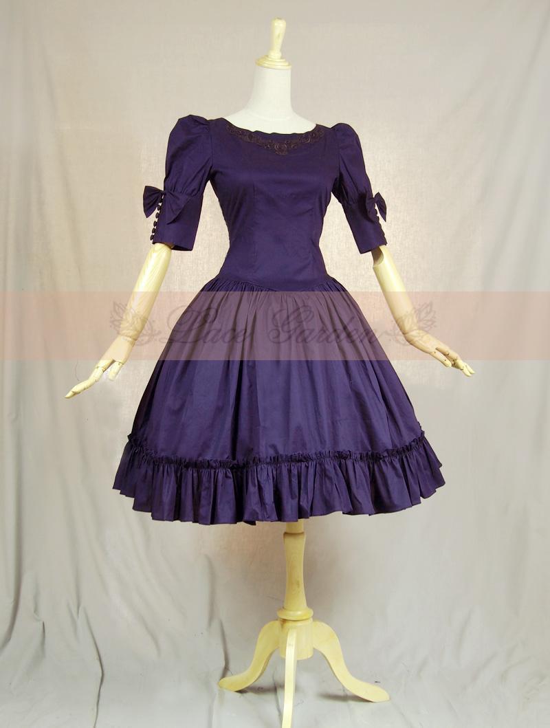 Retro Purple Dress Hepburn Dress Retro Elegant