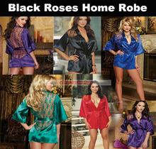 Wholesale Lingerie Black Roses Home Robe Sexy Bathrobe Robe For Women 100PCS/lot(China (Mainland))