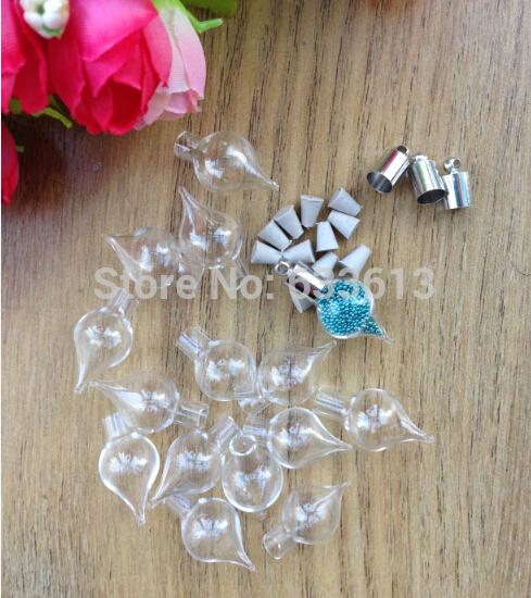 Freeshipping!! 5mm inner diameterTear Drop glass Vial Pendant (metal cap &rubber plug/mini/charm/ rice/ bottle/miniature/vials)(China (Mainland))