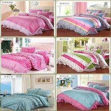 Top Pure cotton bow pastroal princess duvet cove set bedding sets 4pcs bedclothes quilt cover bed sheet  pillowcase king size(China (Mainland))