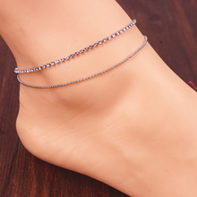 Sparkly Crystals Anklets Fashion Women European Style Barefoot Sandals Jewelry 2 Layers Chain Sexy Beach Wear