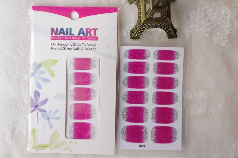 Adhesive Nail Art Stickers Pink And Silver Glitter Gradient Design Manicure Decals Fingernails Styling Tools Nail Wraps Sticker(China (Mainland))