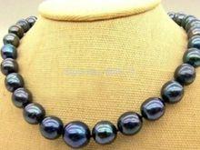 "Free Shipping>>New 8-9mm Tahitian Black Natural Pearl Necklace 18"" AAA+(China (Mainland))"