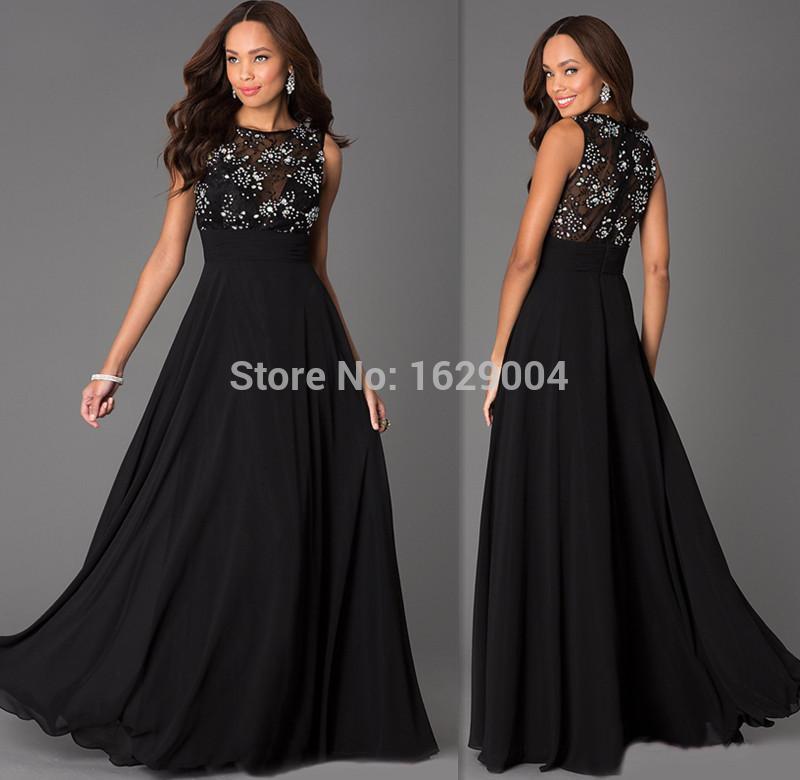 2015 Formal Black Sheer Evening Gowns A-line Chiffon Top Lace Beaded Prom Party Dresses Wear Vestidos Para Festa De Casamento(China (Mainland))