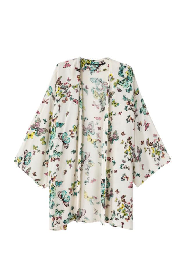 2015 autumn women new shirt Fashion V-Neck Butterfly Printed shirt Nine points sleeve cardigan shirt Free Shipping S M L(China (Mainland))