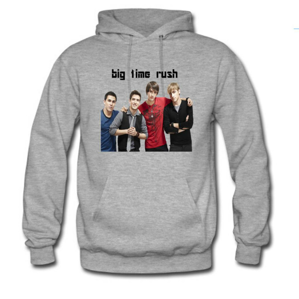 Free shipping! 2015 New Fashion Custom Big Time Rush Men's Hoody Hoodie Hooded Sweatshirt Gray/White/Black(China (Mainland))