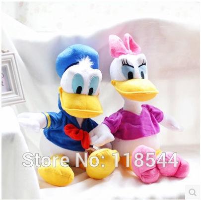 35cm stuffed daisy Duck & donald duck Plush Stuffed toys /stuffed Mickey mouse friends Plush Toys one piece free shipping(China (Mainland))