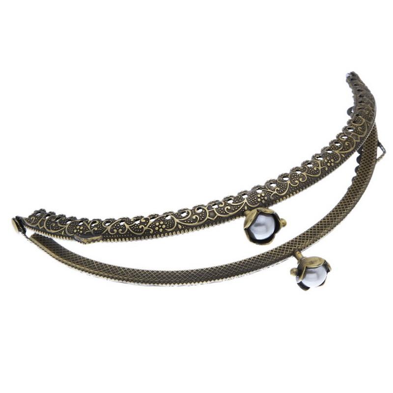 2PCs Metal Purse Bag Frame Lotus Kiss Clasp Lock Bronze Tone B32345 DIY Purse Part Accssory(China (Mainland))