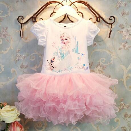 2015 New Girls Dresses Vestidos Elsa Dress Kids Snow Costume Children Clothing Summer Girl Lace Dress Princess Anna Party Dress(China (Mainland))