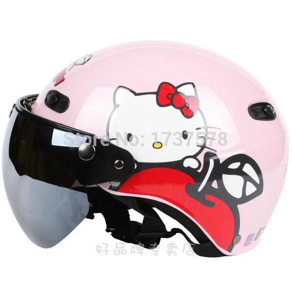 "D.09 Taiwan "" EVO "" ABS Motorcycle Helmet Cycling Racing "" Apple Hello Kitty "" Bright Pink Helmet & UV ""W"" Lens Adult Summer(China (Mainland))"