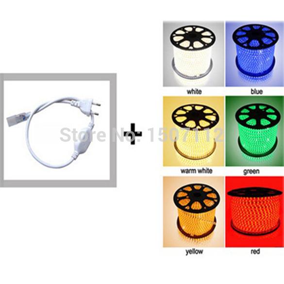 FREE SHIPPING + 100M 220V High voltage 5050 led flexible strip light+Power plug,warm white,60leds/m,14.8w/m,waterproof IP66(China (Mainland))