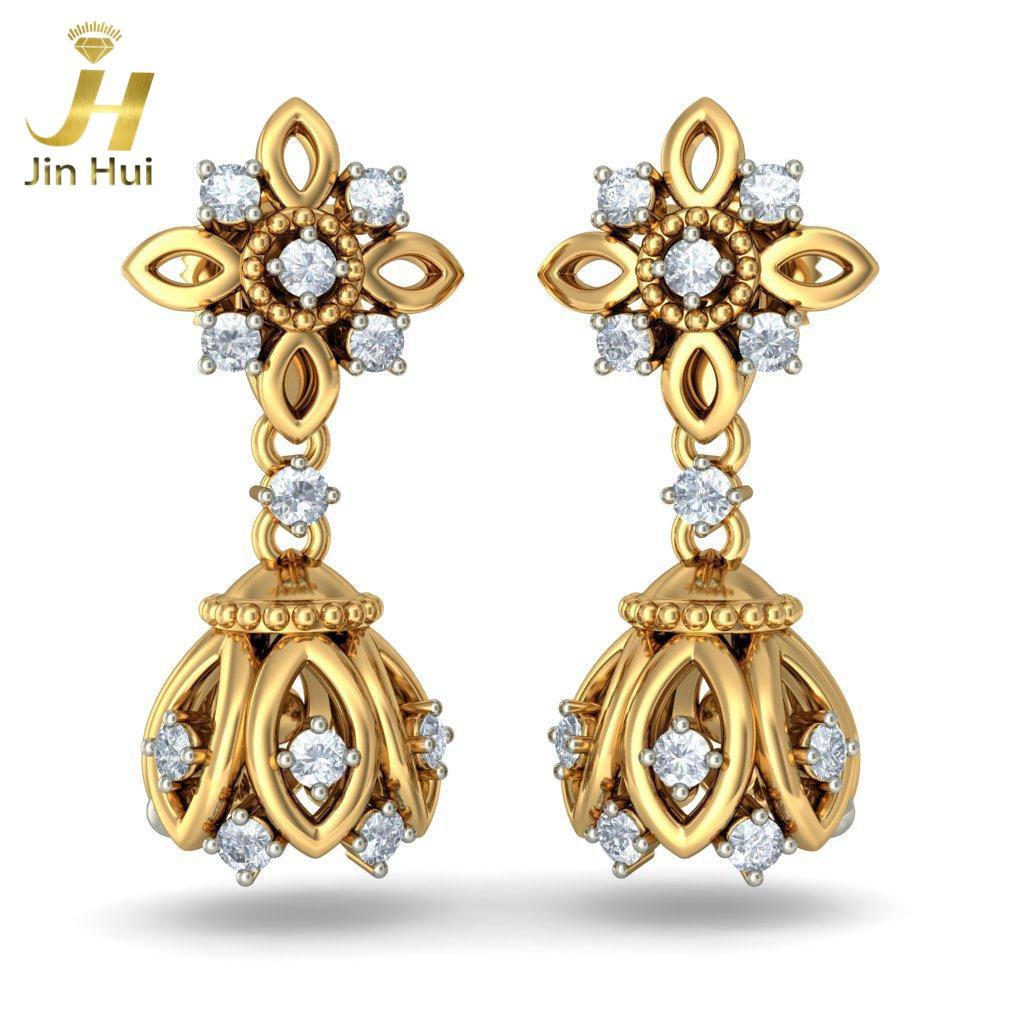 Jin Hui Jinhui Jhumki 18K 750 0.464ct JH-BS2597 jinhui dhwani 18k 750 0 08 jh bs4576