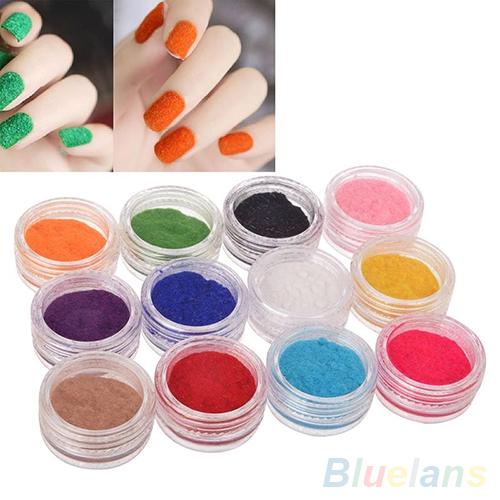 12 Colors Art Glitter Gel Acrylic Velvet Powder Nail Tips Polish Fingernails 2PJ5