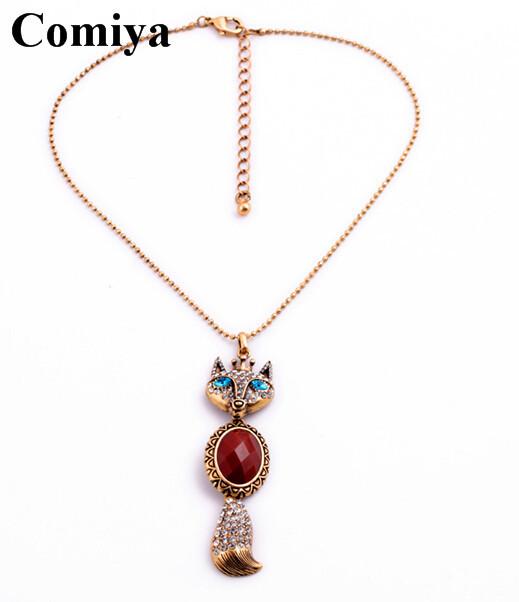 Big Imitation gemstone synthetic ruby fox animal cute crystal fashion tassel pendant acrylic sale rhinestone necklace jewelry(China (Mainland))