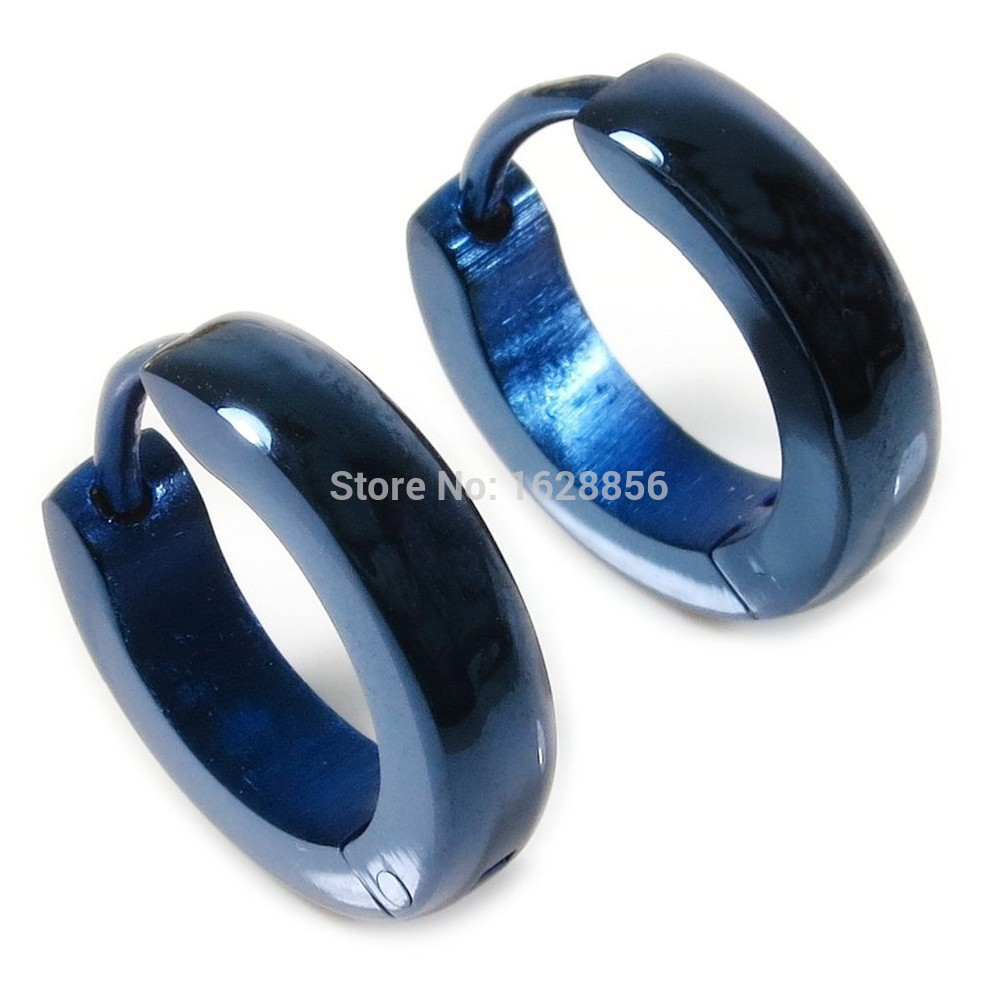 Pair Stainless Steel Blue Plated Curve Polished Earrings 3mm Hinged snap clasp(China (Mainland))