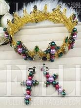 Vintage baroque hair accessory fashion Large bride hair accessory multicolour crown crownpiece marriage accessories